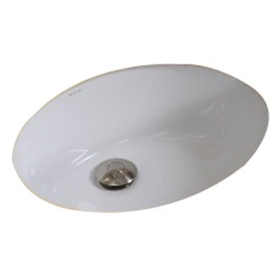 American Imaginations Oval Undermount Bathroom Sink with Overflow Sink Finish: Biscuit, Hardware Finish: White