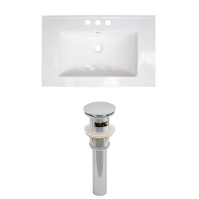 Vee Ceramic 21 Single Bathroom Vanity Top Faucet Mount: 4 Centers