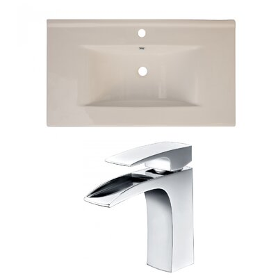 Drake Ceramic 36 Single Bathroom Vanity Top Top Finish: Biscuit, Faucet Mount: Single Hole