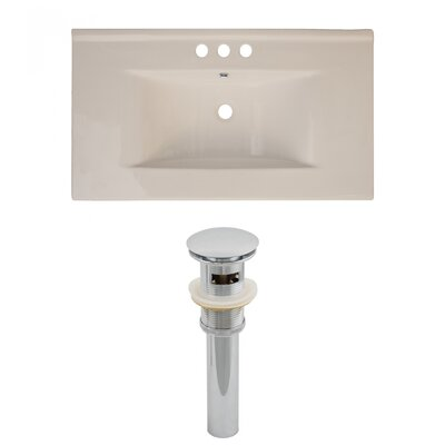 Drake Ceramic 36 Single Bathroom Vanity Top Top Finish: Biscuit, Faucet Mount: 4 Centers
