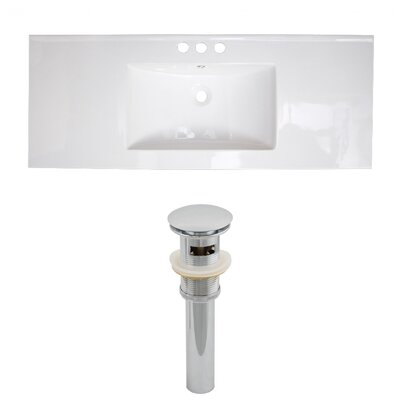 Zia Ceramic Drop-In 48 Single Bathroom Vanity Top Faucet Mount: 8 Centers