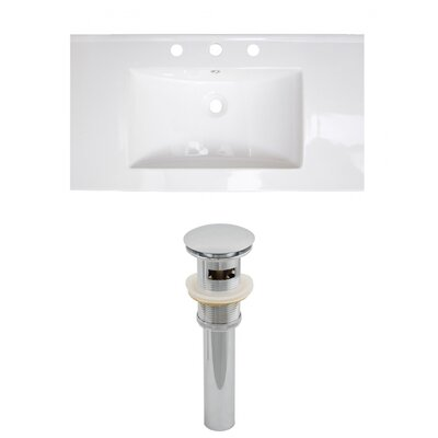 Flair Ceramic 37 Single Bathroom Vanity Top Faucet Mount: 4 Centers