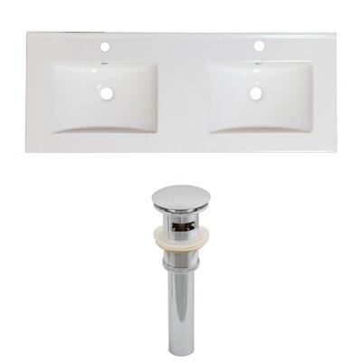 Xena Ceramic 48 Double Bathroom Vanity Top Faucet Mount: Single Hole