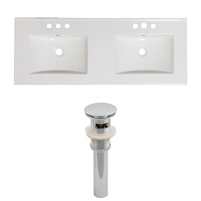 Xena Ceramic 59 Double Bathroom Vanity Top Faucet Mount: 8 Centers