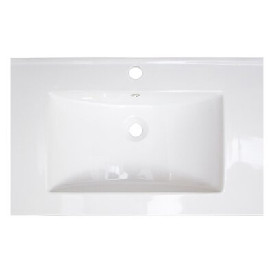 Drake Ceramic 36 Single Bathroom Vanity Top Top Finish: White, Faucet Mount: Single Hole