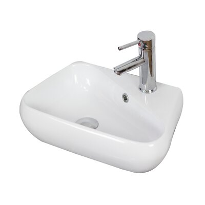 Ceramic 18 Wall Mount Bathroom Sink with Overflow