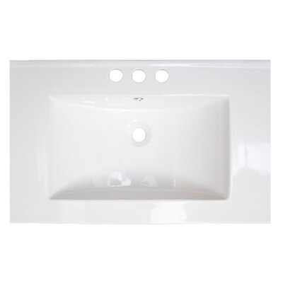 37 Single Bathroom Vanity Top Hardware Finish: White