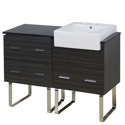 Mulberry Floor Mount 48 Single Bathroom Vanity Set with Ceramic Top Faucet Mount: 8 Centers