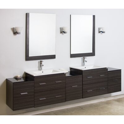 90 Double Modern Wall Mount Bathroom Vanity Set with Mirror Finish: Aluminum