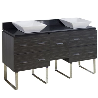 60 Double Modern Bathroom Vanity Set Hardware Finish: Aluminum