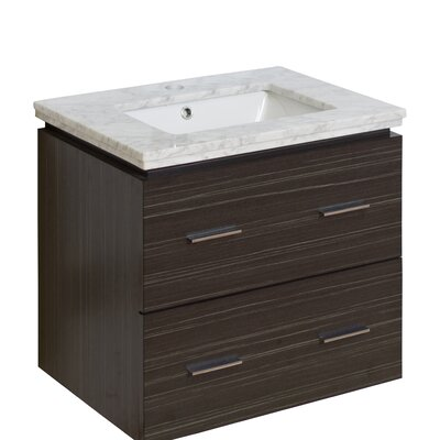 Kyra 24 Multi-Layer Stain Single Bathroom Vanity Set with 2 Drawers Top Finish: Bianca Carara, Sink Finish: Biscuit