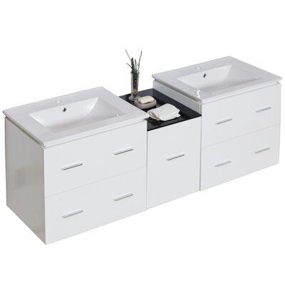 62 Double Modern Wall Mount Bathroom Vanity Set Hardware Finish: Aluminum