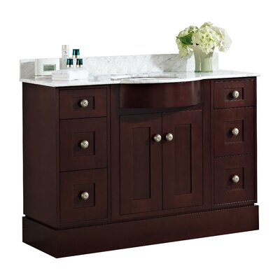 Kimbrough Floor Mount 48 Single Bathroom Vanity Set Sink Finish: White, Faucet Mount: 8 Centers, Top Finish: Bianca Carara