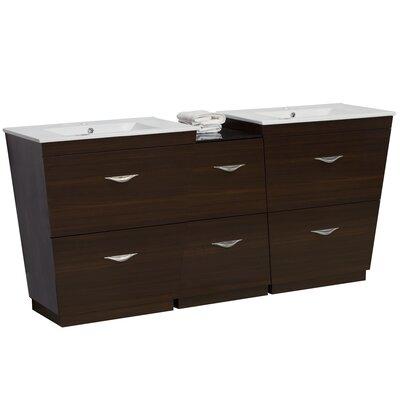 Kao Modern Floor Mount 74 Double Bathroom Vanity Set Faucet Mount: Single Hole