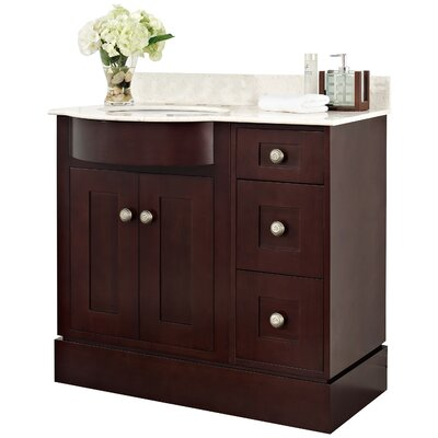 Kimbrough Floor Mount 37.8 Single Bathroom Vanity Set Top Finish: Beige, Sink Finish: White, Faucet Mount: 8 Centers