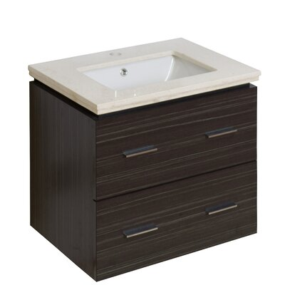 Kyra 24 Rectangle Single Bathroom Vanity Set Top Finish: Bianca Carara, Sink Finish: Biscuit