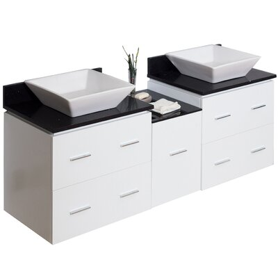 62 Double Modern Wall Mount Bathroom Vanity Set Hardware Finish: Brushed Nickel