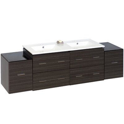 76 Double Modern Wall Mount Bathroom Vanity Set Hardware Finish: Chrome