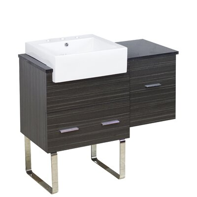 Mulberry Floor Mount 38 Single Bathroom Plywood Vanity Set with Ceramic Top Faucet Mount: 8 Centers