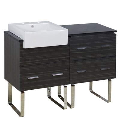 Mulberry Floor Mount 48 Single Bathroom Rectangular Plywood Vanity Set with Ceramic Top Faucet Mount: 8 Centers