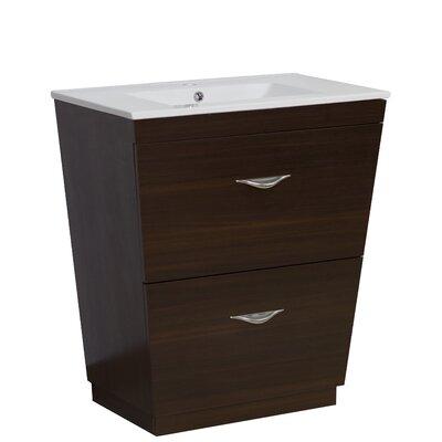 Kao Modern Floor Mount 30 Single Bathroom Vanity Set Faucet Mount: Single Hole