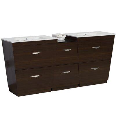 Kao Modern Floor Mount 61.5 Single Bathroom Vanity Set Faucet Mount: 8 Centers