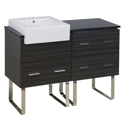Mulberry Floor Mount 48 Single Bathroom Rectangular Plywood Vanity Set with Ceramic Top Faucet Mount: 4 Centers