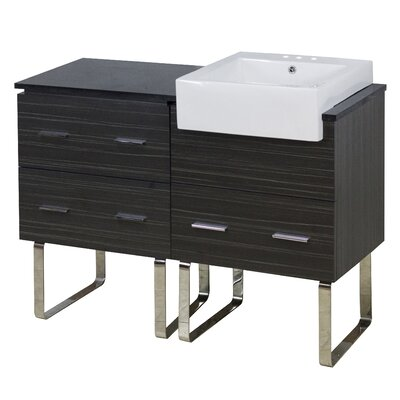 Mulberry Floor Mount 48 Single Bathroom Vanity Set with Ceramic Top Faucet Mount: 4 Centers