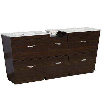 Kao Wood Floor Mount 56 Single Bathroom Vanity Set Faucet Mount: 8 Centers