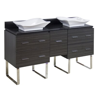 Kaplan Floor Mount 60 Double Bathroom Vanity Set Base Finish: Gray