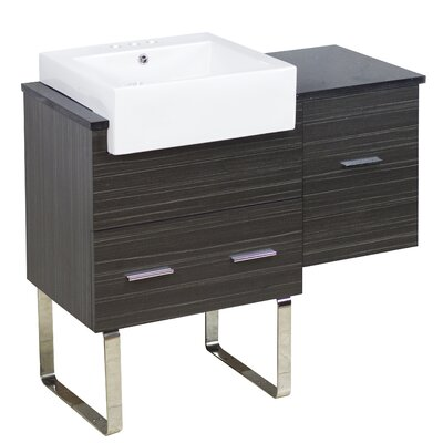 Mulberry Floor Mount 38 Single Bathroom Plywood Vanity Set with Ceramic Top Faucet Mount: 4 Centers