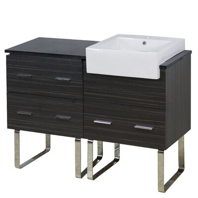 Mulberry Floor Mount 48 Single Bathroom Vanity Set with Ceramic Top Faucet Mount: Single Hole