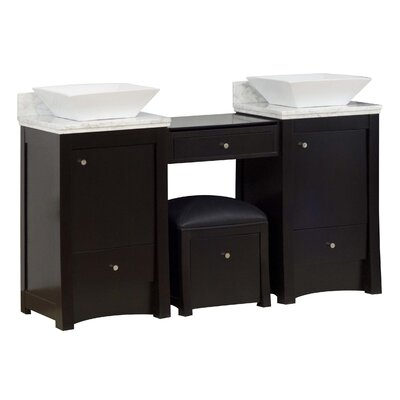 Kimbrell Wall Mount 60.75 Single Bathroom Wood Vanity Set