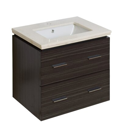 Kyra Modern 24 Multi-Layer Stain Single Bathroom Vanity Set Top Finish: Beige, Sink Finish: White