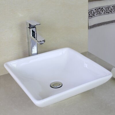 Above Counter Rectangular Vessel Bathroom Sink with Overflow