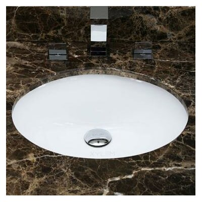 American Imaginations Ceramic Oval Undermount Bathroom Sink with Overflow Hardware Finish: Stainless Steel