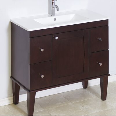 "Transitional 36"" Single Bathroom Vanity Base Hardware Finish: Aluminum"