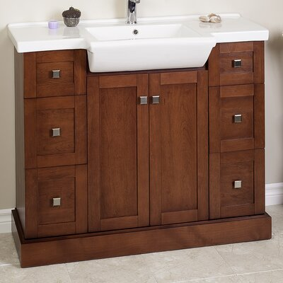 38 Modern Vanity Base Finish: Walnut, Hardware Finish: Antique Brass
