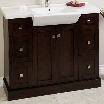 38 Modern Vanity Base Finish: Walnut, Hardware Finish: Stainless Steel
