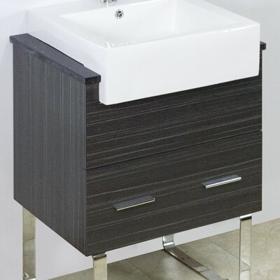 "Modern 23"" Single Bathroom Vanity Base Hardware Finish: Brushed Nickel"
