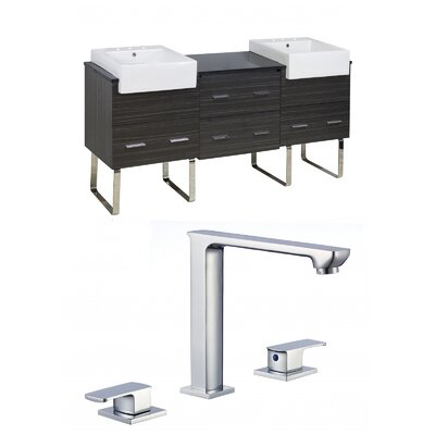 Mulberry Floor Mount 72 Single Bathroom Rectangular Vanity Set Faucet Mount: 8 Centers