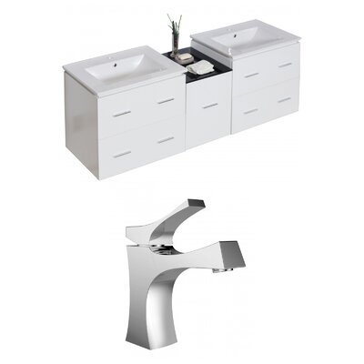 Kyra 62 Multi-layer Stain Double Bathroom Vanity Set