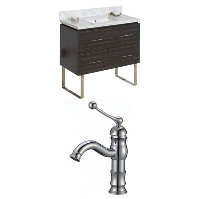 Kyra 36 Single Bathroom Vanity Set with 2 Drawers Sink Finish: White