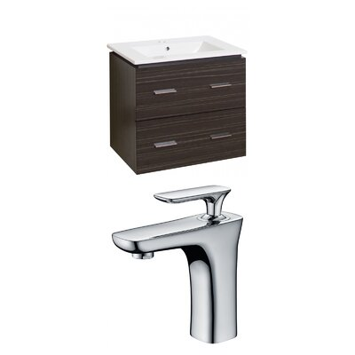 Maryalice Wall Mount 23.75 Single Bathroom Modern Vanity Set with Ceramic Top