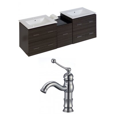 Kyra Modern 62 Double Bathroom Vanity Set with Ceramic Top