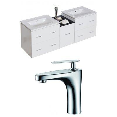 Kyra 62 Natural Wood Double Bathroom Vanity Set with Ceramic Top