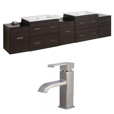 Kyra 90 Multi-Layer Stain Wood Double Bathroom Vanity Set