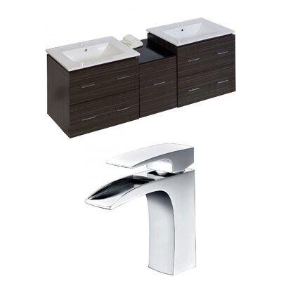 Kyra 62 Multi-layer Stain Wood Double Bathroom Vanity Set