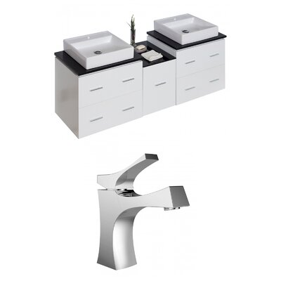 Kyra 62 Multi-layer Stain Rectangle Double Bathroom Vanity Set
