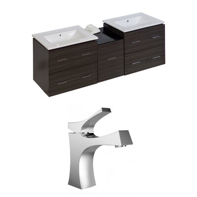 Kyra 62 Rectangle Natural Wood Double Bathroom Vanity Set